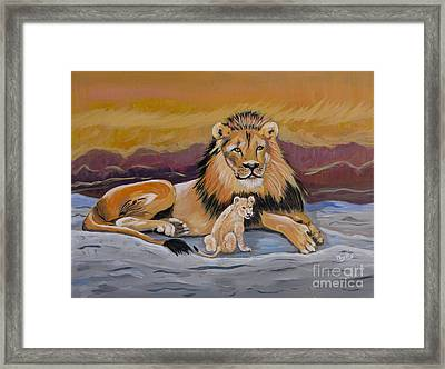 Framed Print featuring the painting Lion And Cub by Phyllis Kaltenbach