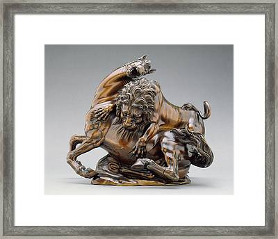 Lion Attacking A Horse And Lion Attacking A Bull Antonio Framed Print by Litz Collection