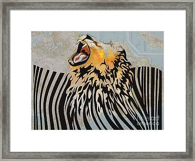 Lion Barcode Framed Print