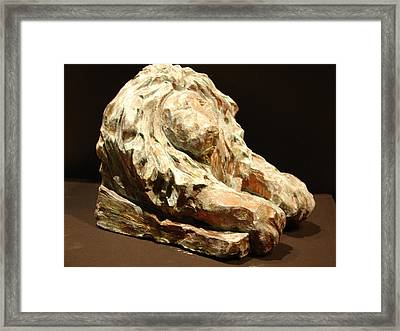 Lion Bookend  Framed Print by Joseph Hawkins