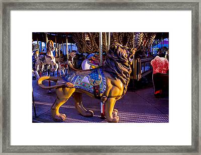 Lion Carrousel  Framed Print by Garry Gay