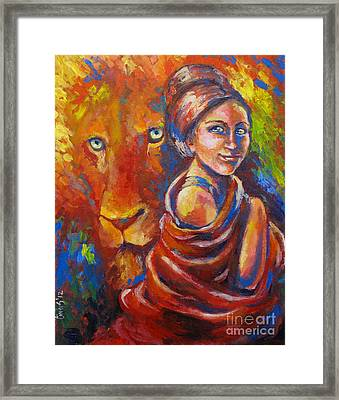 Lion Covering Framed Print by Tamer and Cindy Elsharouni