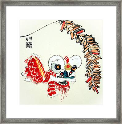 Lion Dance Performance Framed Print by Ming Yeung