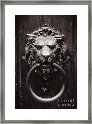 Lion Door Knocker Framed Print by Carol Groenen