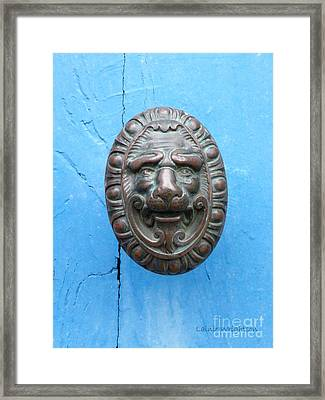 Lion Face Door Knob Framed Print by Lainie Wrightson