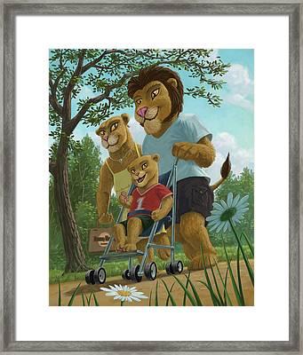 Lion Family In Park Framed Print by Martin Davey