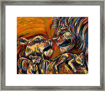 Lion Family Framed Print by Lovejoy Creations