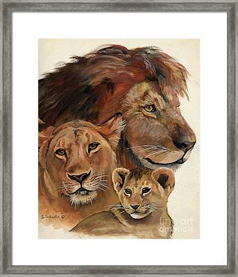Lion Family Portrait Framed Print by Suzanne Schaefer