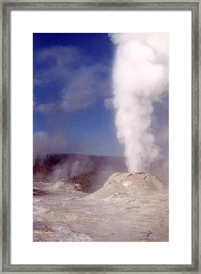 Lion Geyser In Full Vent Mode Framed Print by Mary Bedy