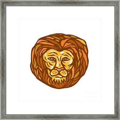 Lion Head Woodcut Linocut Framed Print