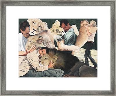 Lion Hugs Framed Print