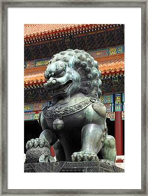 Framed Print featuring the photograph Lion In Forbidden City by Kay Gilley
