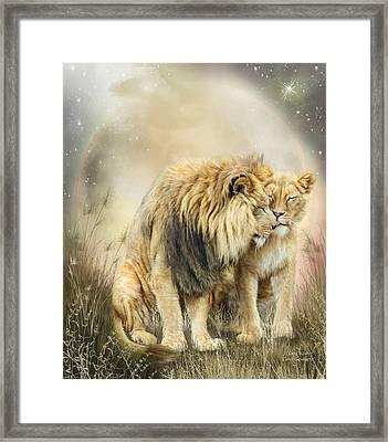 Lion Kiss Framed Print by Carol Cavalaris