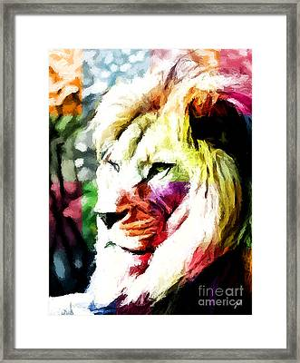 Framed Print featuring the painting Lion - Leone by Ze  Di