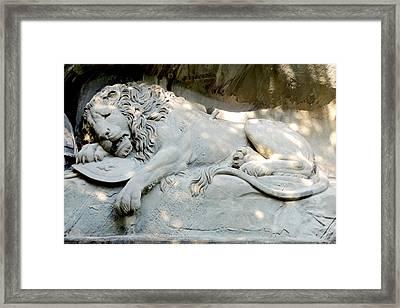 Lion Monument In Lucerne Switzerland Framed Print