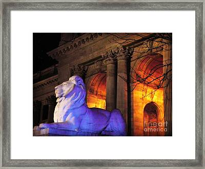 Lion Nyc Public Library Framed Print