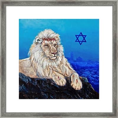 Lion Of Judah Before Jeruselum Framed Print by Bob and Nadine Johnston