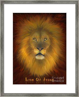 Lion Of Judah Fire In His Eyes 2 Framed Print by Constance Woods