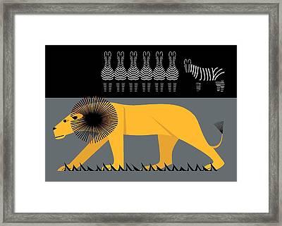Lion On The Loose Framed Print