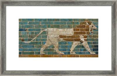 Lion Relief From The Processional Way In Babylon Framed Print by Babylonian