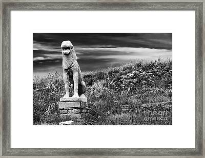 Lion Ruins On Delos Island Framed Print by John Rizzuto
