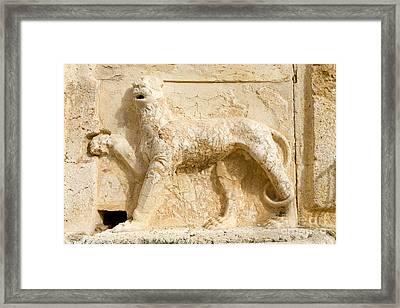 Lion Sculpture, Qasr Al Abd, Jordan Framed Print by Adam Sylvester