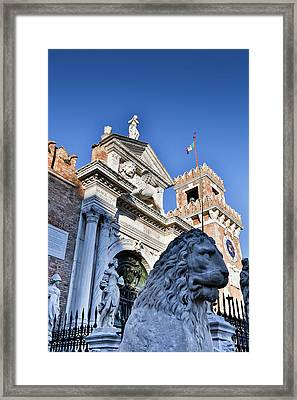 Lion Statue In Front Of Arsenal, Venice Framed Print by Darrell Gulin