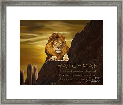 Lion Watchman Framed Print