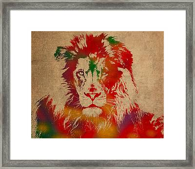 Lion Watercolor Portrait On Old Canvas Framed Print by Design Turnpike