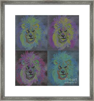 Lion X 4 Color  By Jrr Framed Print by First Star Art