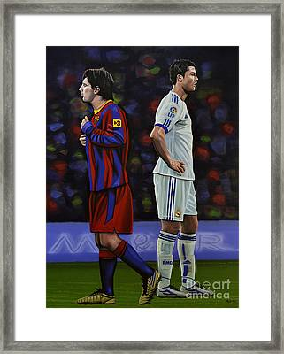 Lionel Messi And Cristiano Ronaldo Framed Print by Paul Meijering