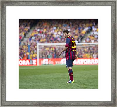 Framed Print featuring the photograph Lionel Messi by Nathan Rupert