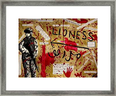 Framed Print featuring the mixed media Lioness by Michelle Dallocchio