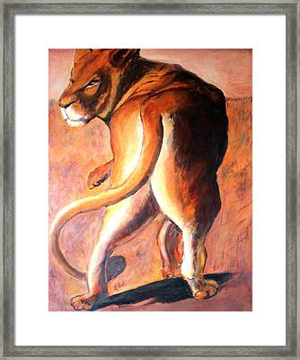 Framed Print featuring the painting Lioness by Rosemarie Hakim