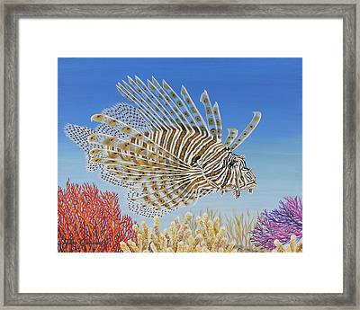 Framed Print featuring the painting Lionfish And Coral by Jane Girardot