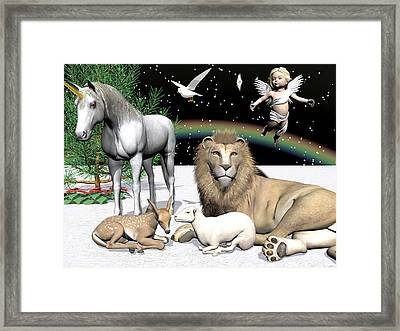 Lions And Lamb Framed Print