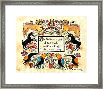 Lions And Unicorns-fraktur Framed Print