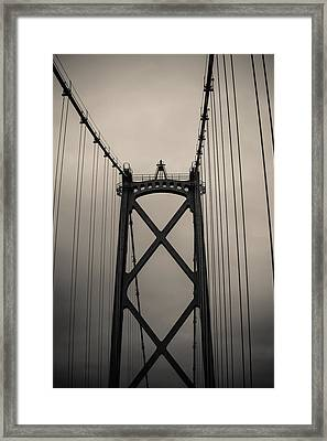 Lions Gate Bridge Abstract Black And White Framed Print by Eti Reid