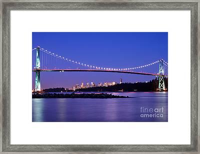 Lions Gate Bridge At Dusk 3 Framed Print by Terry Elniski