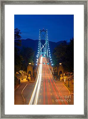 Lions Gate Bridge At Dusk Framed Print by Terry Elniski