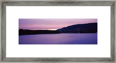 Lions Gate Bridge At Dusk, Vancouver Framed Print