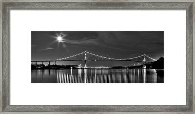 Lions Gate Bridge Black And White Framed Print