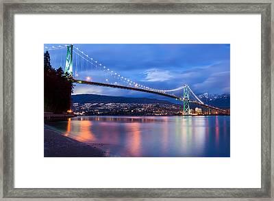 Lions Gate Bridge Just After Sunset Framed Print by James Wheeler