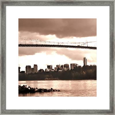 Lion's Gate Bridge Rose Centre Framed Print by Patricia Keith