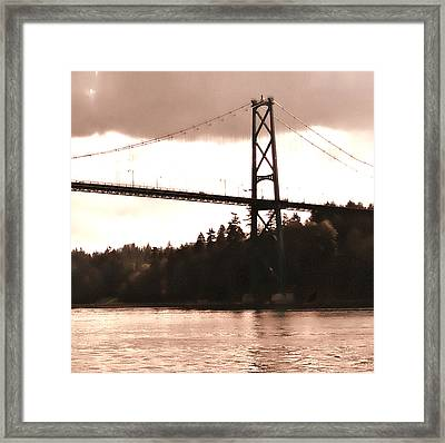 Lion's Gate Bridge Rose Right Framed Print by Patricia Keith