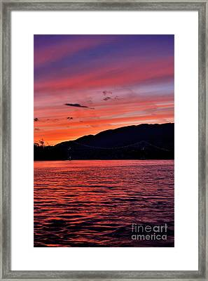Lions Gate Bridge Sunset Framed Print by Terry Elniski