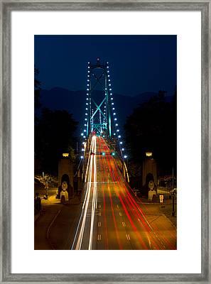 Lions Gate Bridge Traffic Framed Print by Michael Russell
