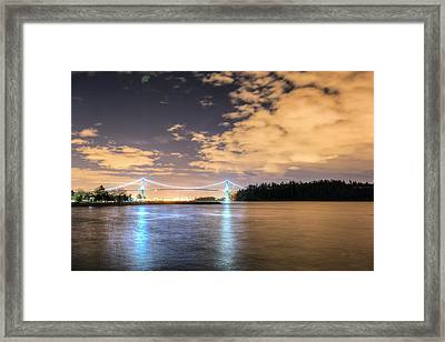 Lion's Gate Bridge Vancouver At Night Framed Print by Eti Reid