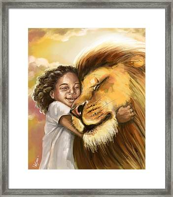 Lion's Kiss Framed Print by Tamer and Cindy Elsharouni