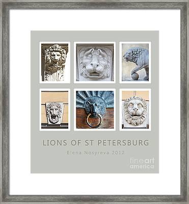 Lions Of St Petersburg Framed Print by Elena Nosyreva